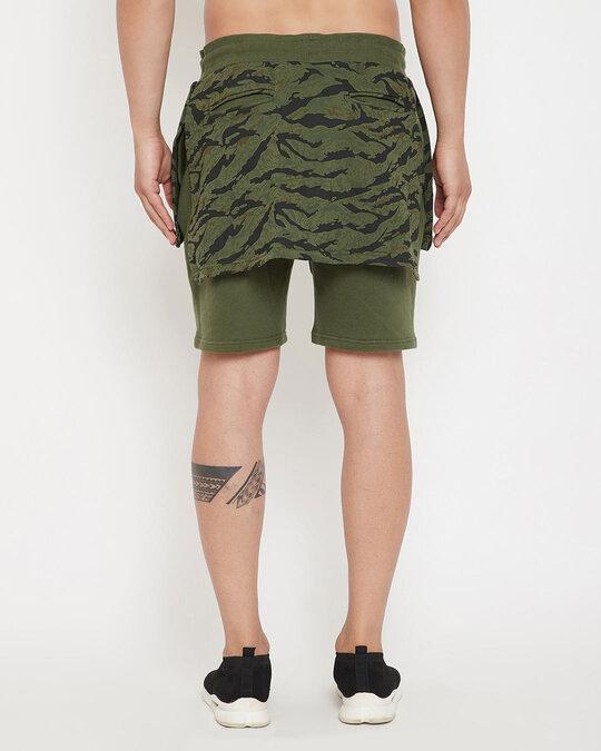 Shop Olive Camo Layered Shorts-Design
