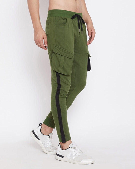 Shop Olive Cargo Taped Joggers-Back