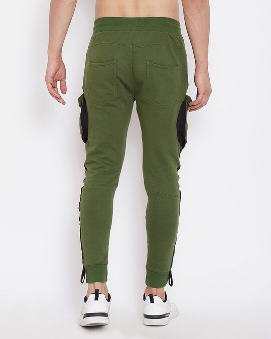Shop Olive Cargo Taped Joggers-Design