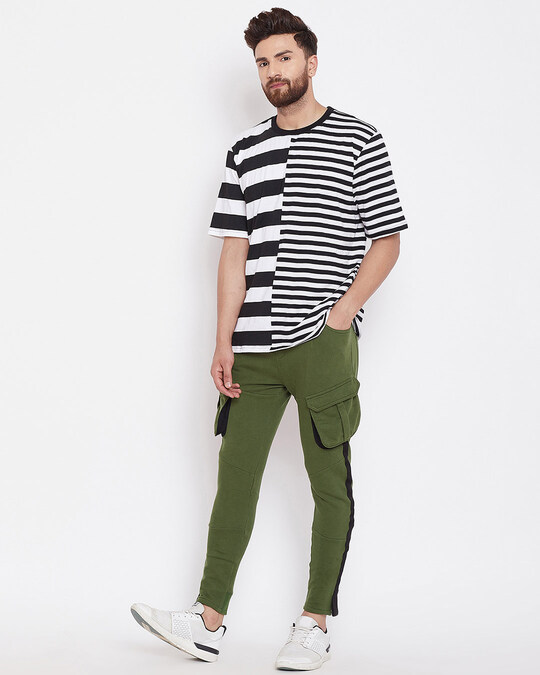 Shop Olive Cargo Taped Joggers-Full