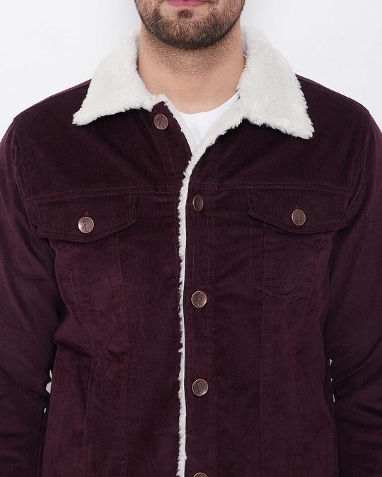 Shop Wine Corduroy Faux Fur Jacket