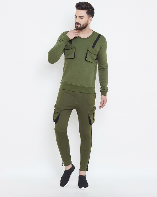 Shop Olive Taped Sweatshirt & Cargo Joggers Combo Suit-Full