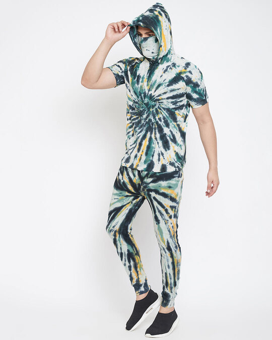 Shop Olive Tie And Dye Tshirt And Trackpants Combo Suit-Design
