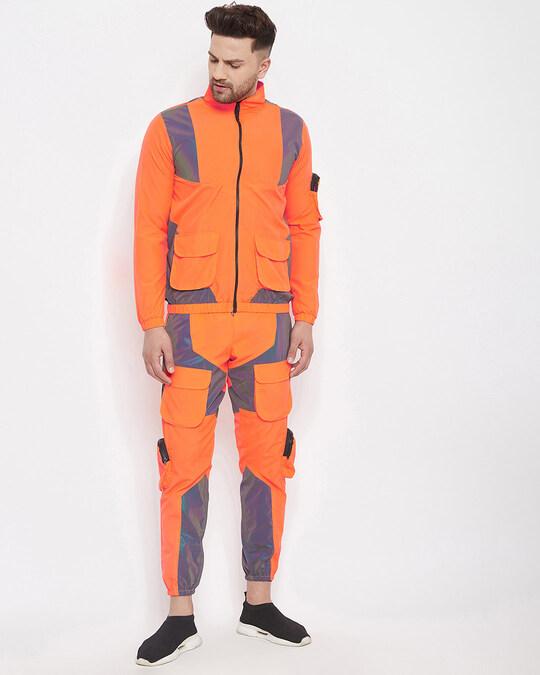Shop Orange Rainbow Reflective Cargo Tracksuit-Front