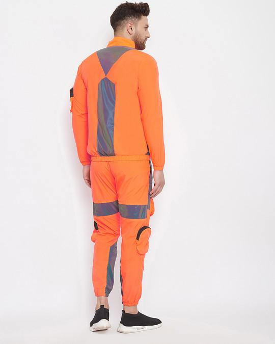 Shop Orange Rainbow Reflective Cargo Tracksuit-Design