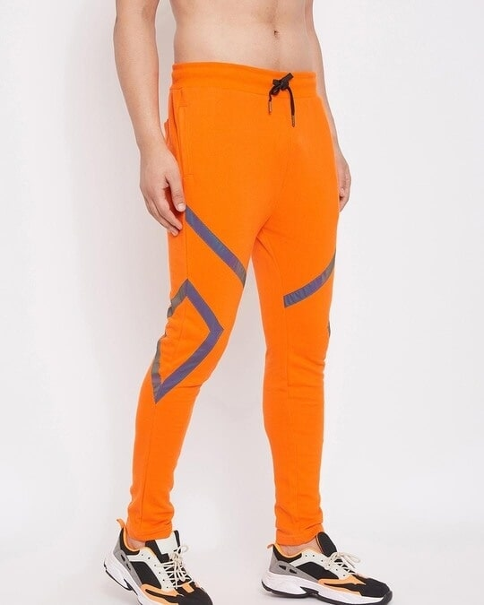 Shop Orange Rainbow Reflective Taped Trackpant-Full