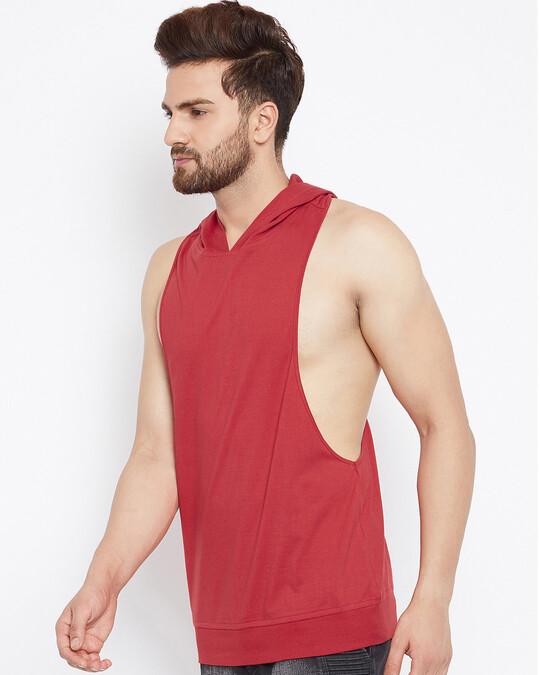 Shop Red Hooded Stringer Vest-Back