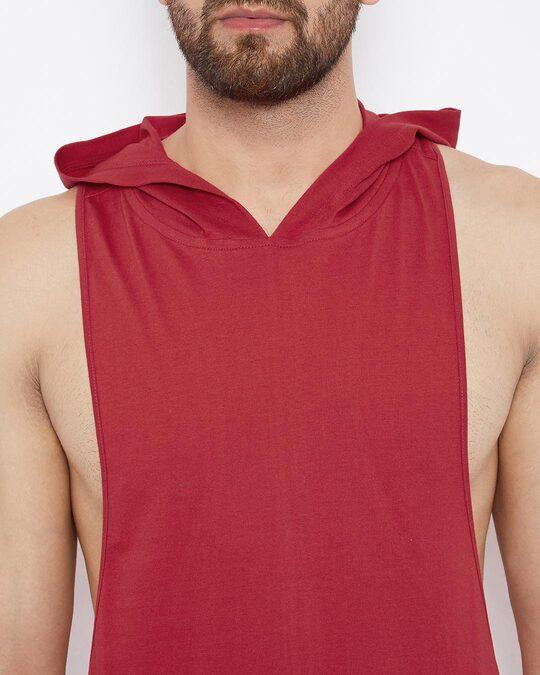 Shop Red Hooded Stringer Vest