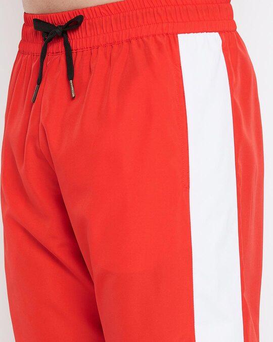 Shop Red Nylon Colour Blocked Tracksuit