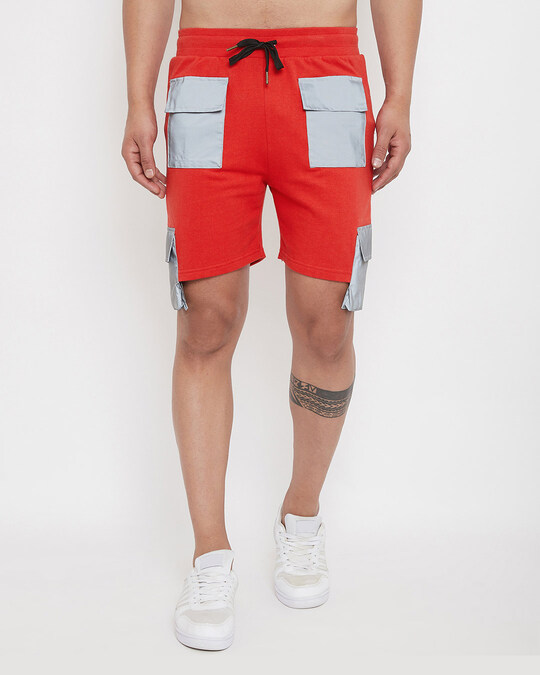 Shop Red Reflective Cargo Shorts-Front