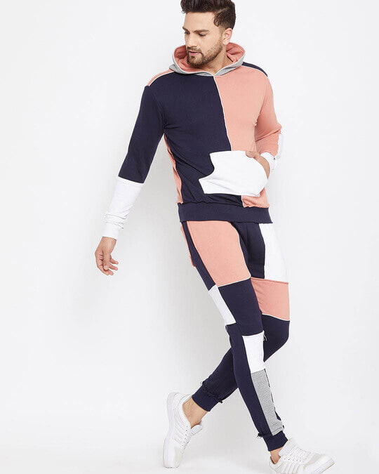 Shop Rose And Navy Colour Blocked Trackpant-Back