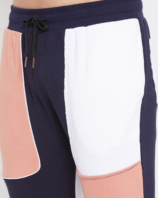 Shop Rose And Navy Colour Blocked Trackpant