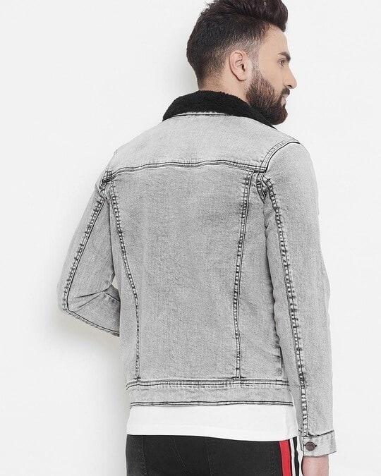 Shop Stone Faux Fur Denim Jacket