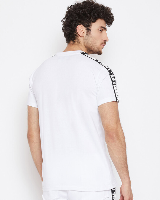Shop White Contrast Taped Tee-Full