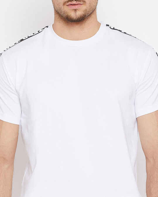 Shop White Contrast Taped Tee