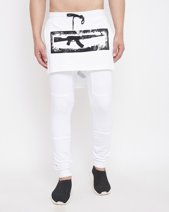 Shop White Layered Joggers-Front