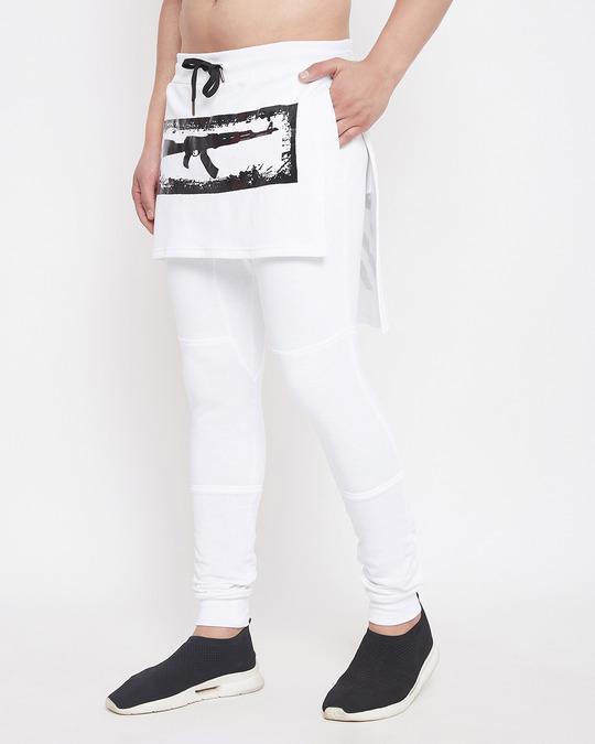 Shop White Layered Joggers-Back