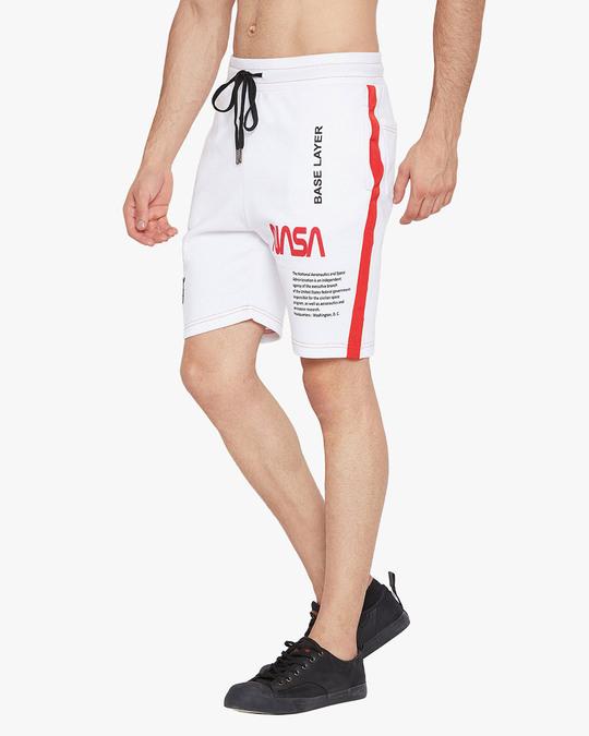 Shop White Nasa Base Layer Shorts-Design