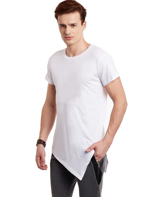 Shop White Triangular Hem Tee-Back