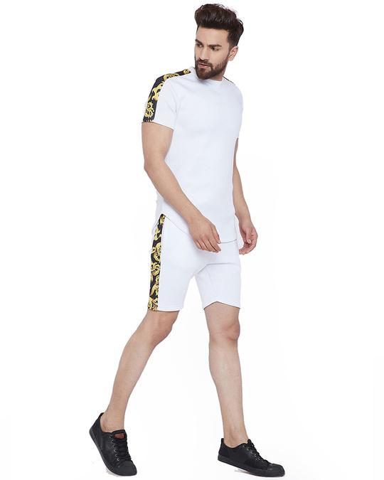 Shop White Venetian Combo Summer Suit-Back