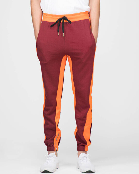 Shop Wine Contrast Zipped Joggers-Front