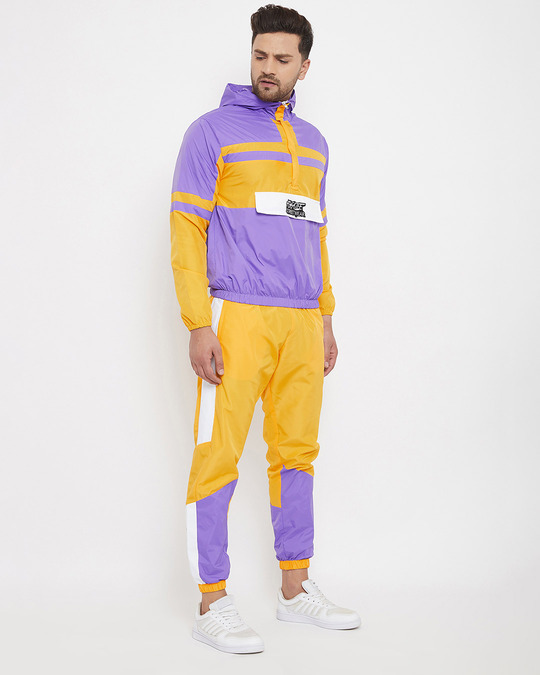 Shop Yellow And Plum Wind Breaker Tracksuit-Back