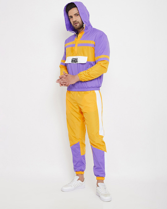 Shop Yellow And Plum Wind Breaker Tracksuit-Design