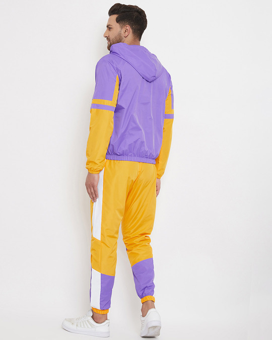 Shop Yellow And Plum Wind Breaker Tracksuit-Full