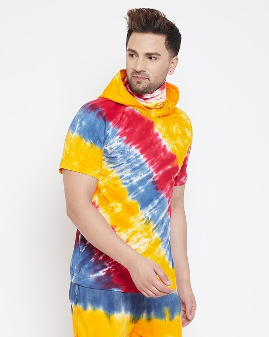 Shop Yellow Tie And Dye Tshirt With Ribbed Face Cover-Back