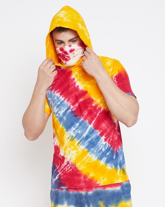 Shop Yellow Tie And Dye Tshirt With Ribbed Face Cover-Design