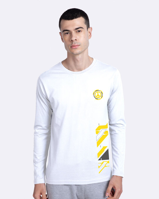 Shop Funk Peace Full Sleeve T-Shirt White-Front