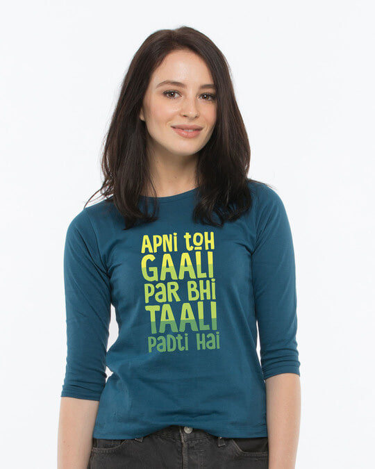 Shop Gaali Par Taali Round Neck 3/4th Sleeve T-Shirt-Front