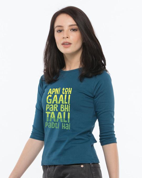 Shop Gaali Par Taali Round Neck 3/4th Sleeve T-Shirt-Back