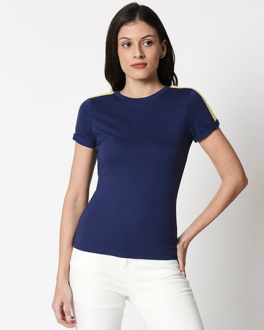 Shop Galaxy Blue - Happy Yellow Shoulder Sleeve T-Shirt-Back