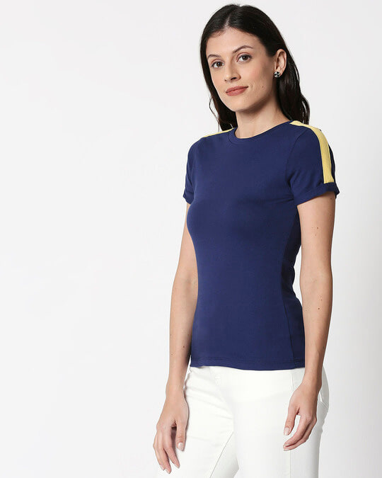 Shop Galaxy Blue - Happy Yellow Shoulder Sleeve T-Shirt-Design
