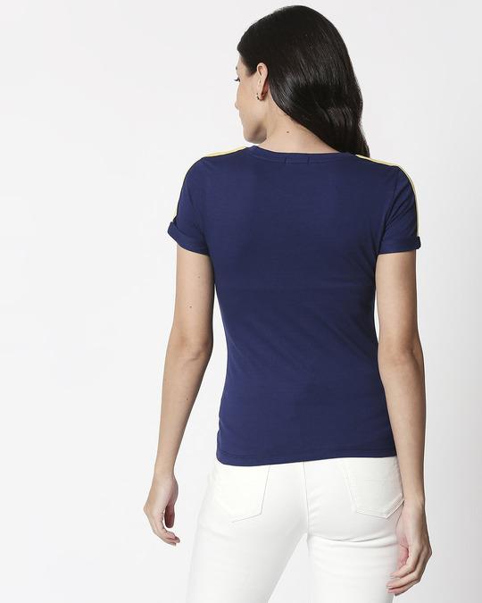 Shop Galaxy Blue - Happy Yellow Shoulder Sleeve T-Shirt-Full