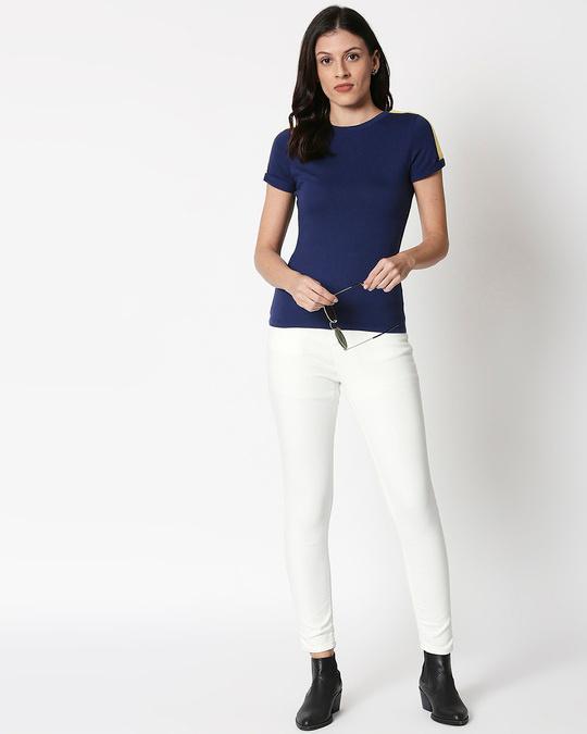 Shop Galaxy Blue - Happy Yellow Shoulder Sleeve T-Shirt