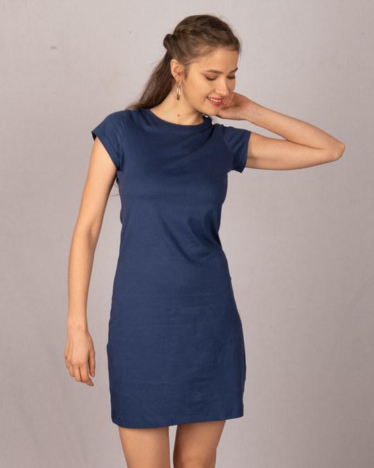 Shop Galaxy Blue Cap Sleeve Plain T-shirt Dress-Front