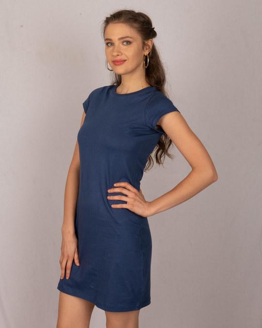 Shop Galaxy Blue Cap Sleeve Plain T-shirt Dress-Back