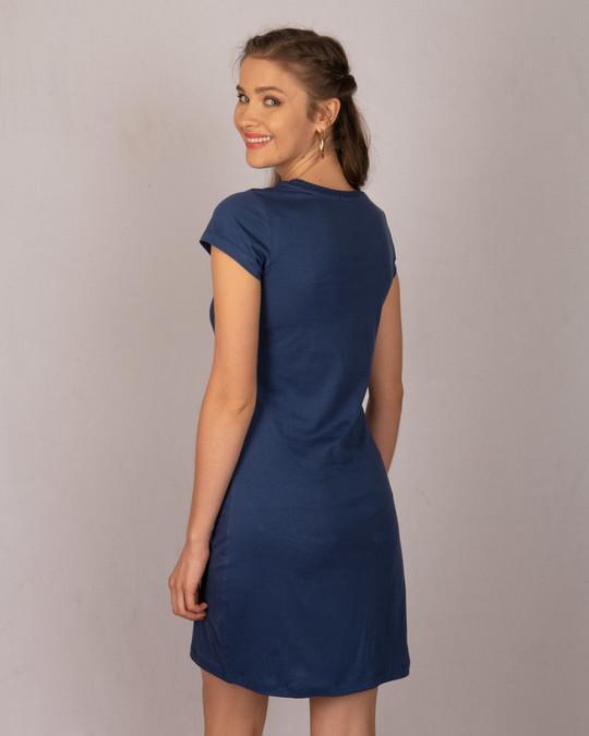 Shop Galaxy Blue Cap Sleeve Plain T-shirt Dress-Design