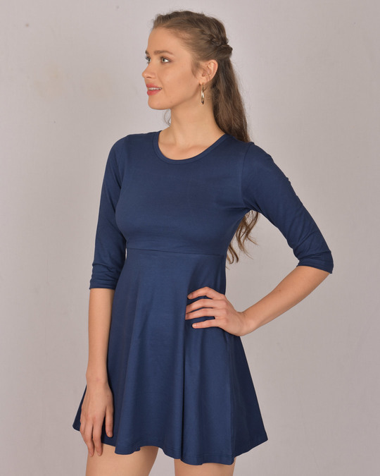 Shop Galaxy Blue Flared Dress-Back