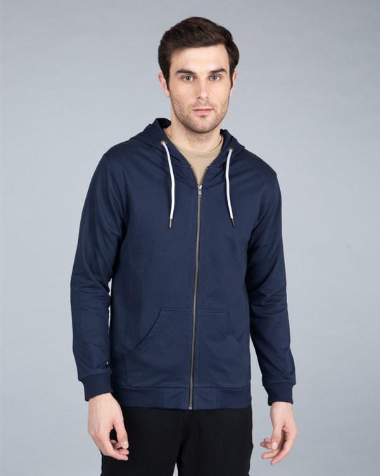 Shop Galaxy Blue Fleece Zipper Hoodies-Back
