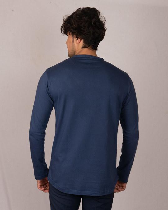 Shop Galaxy Blue Full Sleeve Henley T-Shirt-Design