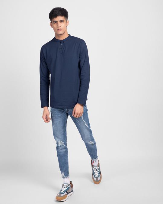 Shop Galaxy Blue Full Sleeve Henley T-Shirt-Full