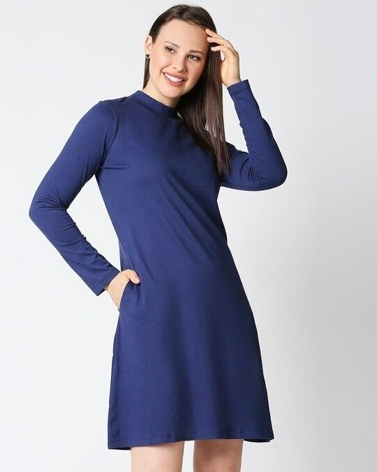 Shop Galaxy Blue High Neck Pocket Dress-Front