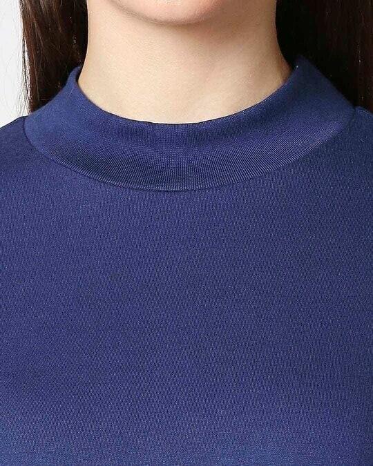 Shop Galaxy Blue High Neck Pocket Dress