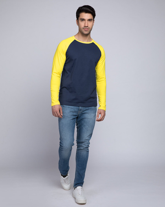 Shop Galaxy Blue-Pineapple Yellow Full Sleeve Raglan T-Shirt