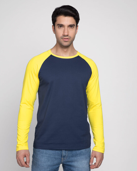 Shop Galaxy Blue-Pineapple Yellow Full Sleeve Raglan T-Shirt-Front