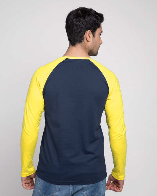 Shop Galaxy Blue-Pineapple Yellow Full Sleeve Raglan T-Shirt-Full