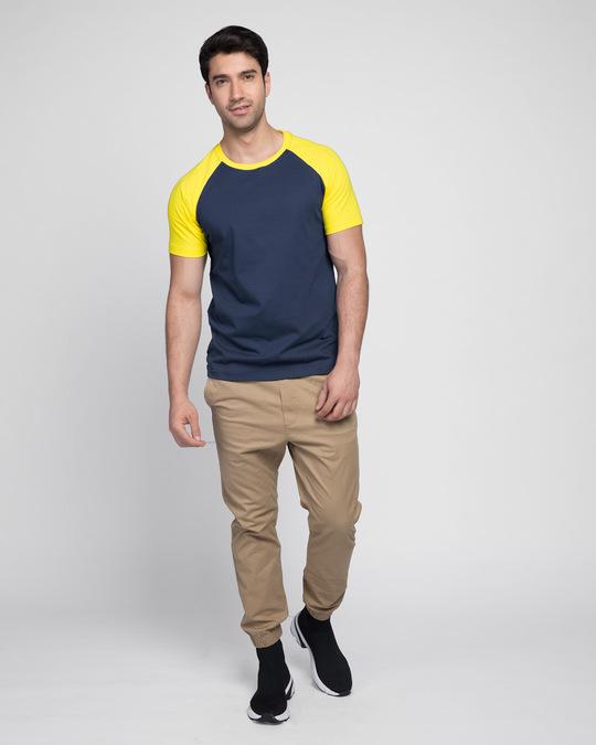 Shop Galaxy Blue-Pineapple Yellow Half Sleeve Raglan T-Shirt-Full